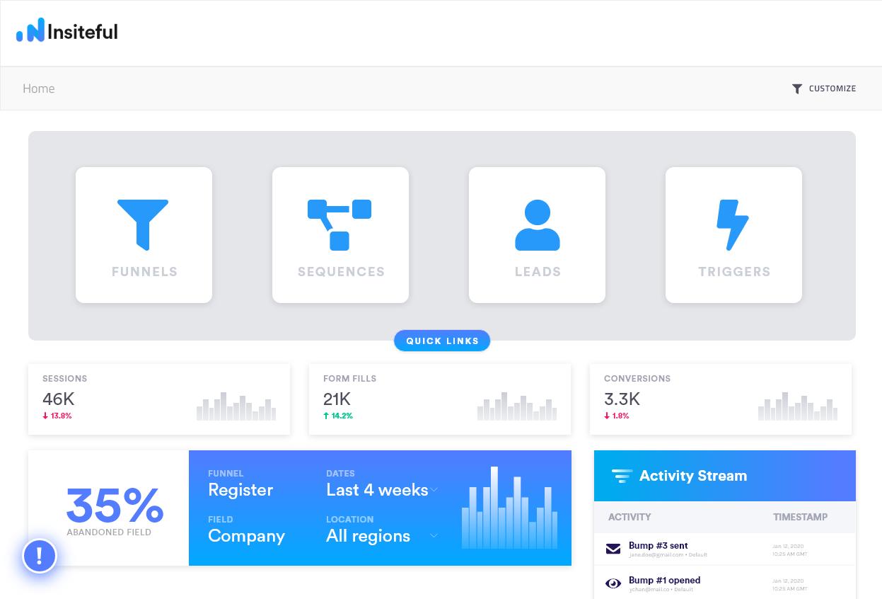 Dashboard: Web Form Tracking & Optimization | Insiteful