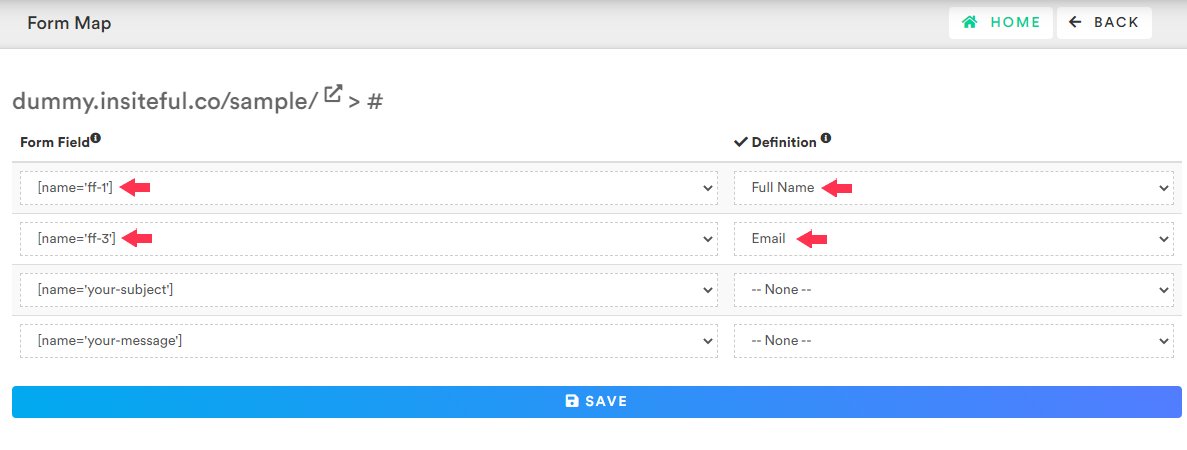 How-to setup custom form field mapping with Insiteful