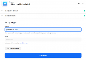 Insiteful Zapier integration: automatically sync leads recovered from abandoned forms