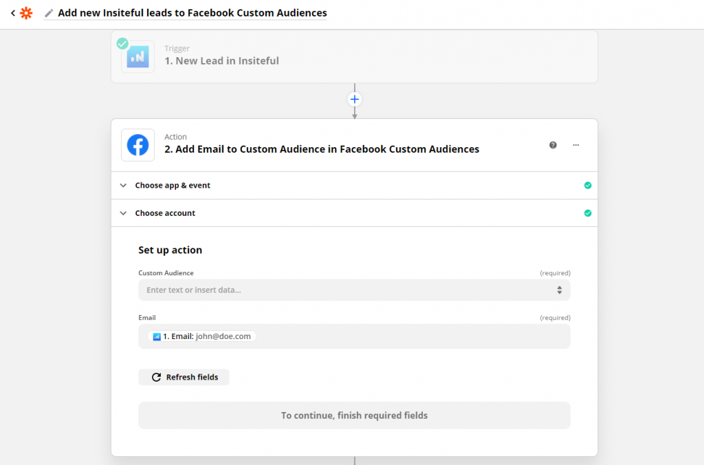 Automate remarketing via Facebook to recover leads from partial entries & abandoned forms with Insiteful + Zapier