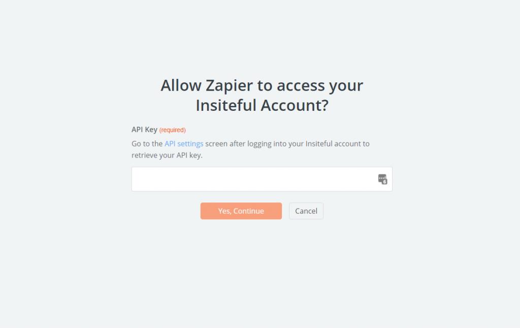 Insiteful API Key for Zapier