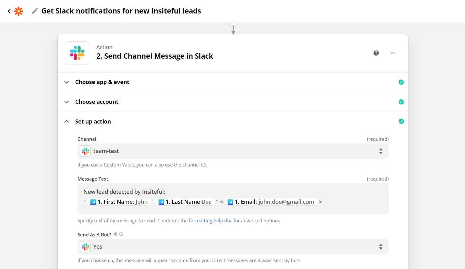 Configure Slack Message for Partial Entries & Leads from Forms via Insiteful + Zapier