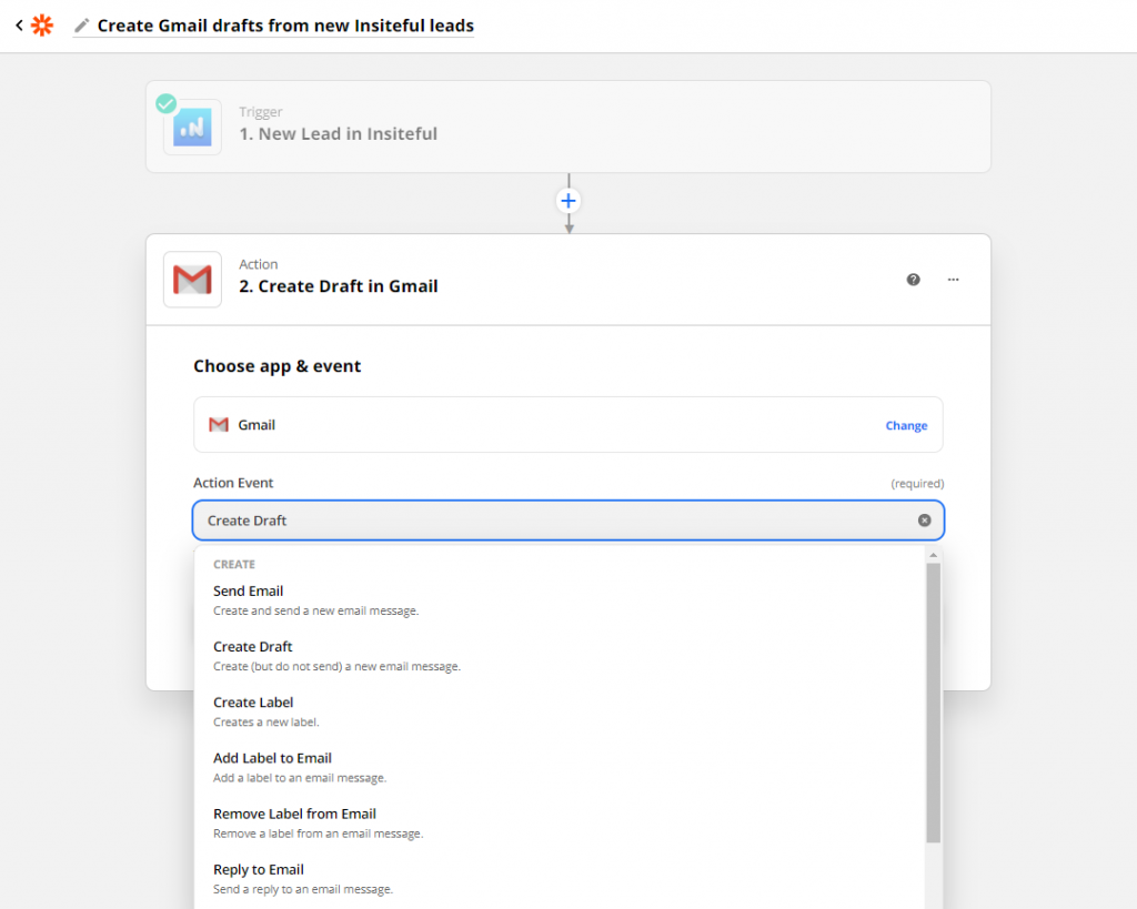 Send auto follow-up from Gmail to abandoned form leads detected by Insiteful (Zapier) - Success