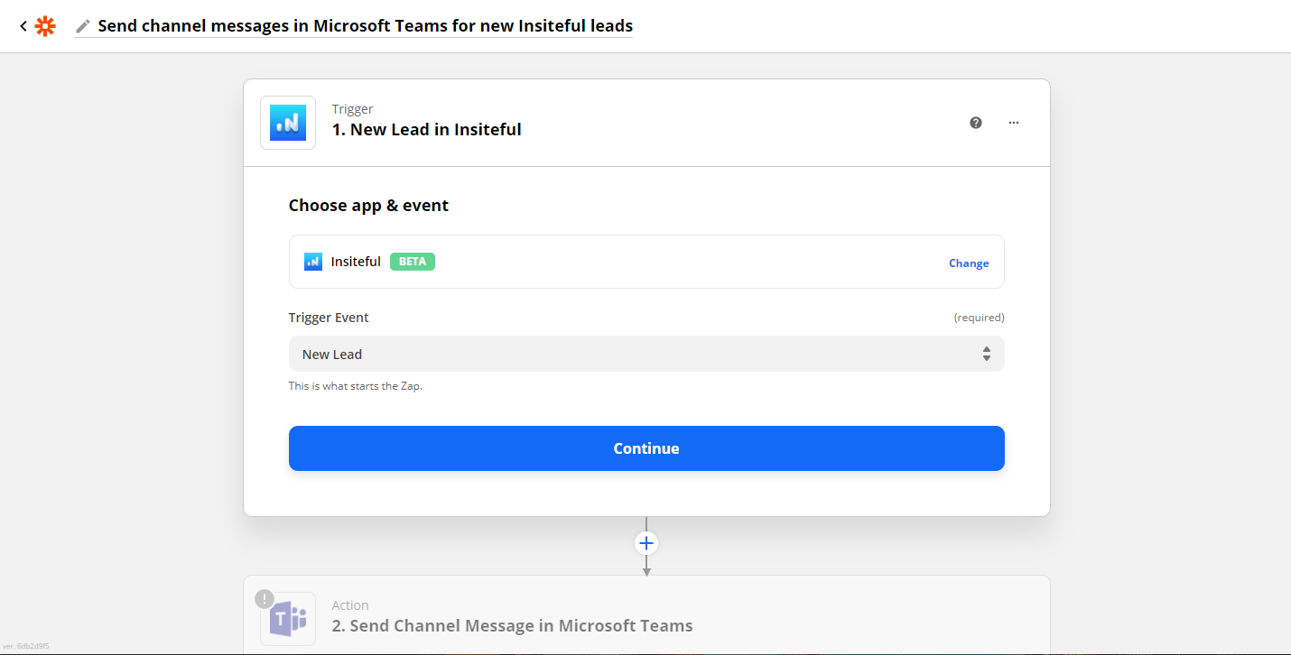 Click to connect Insiteful + Microsoft Teams via Zapier