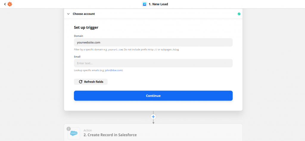 Configure Salesforce sync for Partial Entries & Leads from Forms via Insiteful + Zapier